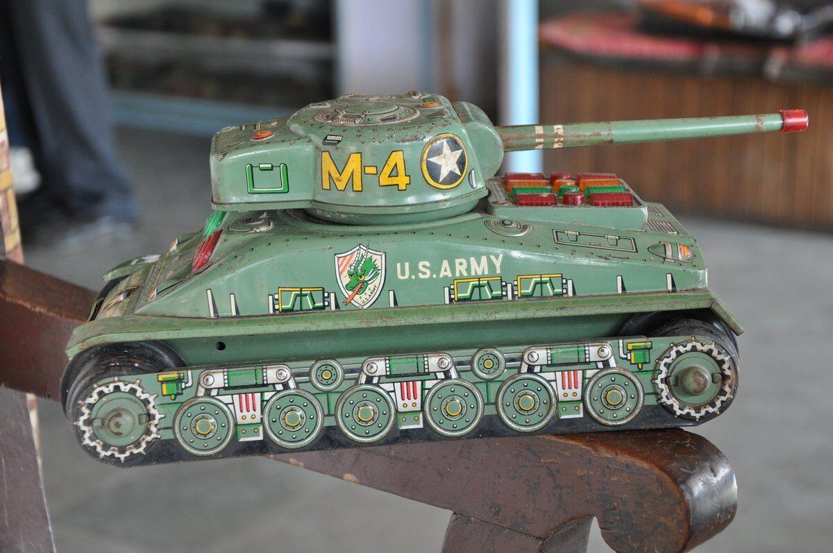 Vintage Taiyo Trademark U.S Army M-4 Star Mark Litho Litho Litho Battery Tank Tin Toy ,Japan 489712
