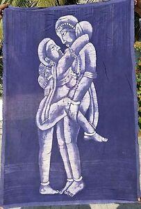 Kamasutra Tenture indienne vrai Batik Fait main Inde Coton Art Boho Hippie K5
