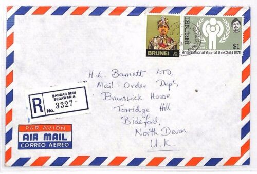 XX8 1979 BRUNEI Bandar Seri Begawan REGISTERED Airmail Cover Devon