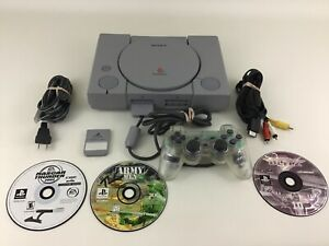 Playstation 1 Game Console Sony with Controller Games Cables Lot PS1 Tested