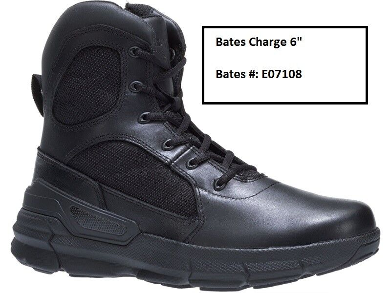 Bates Charge 6  Tactical Boots Leather Nylon Side-Zip Men's E07108 size 8