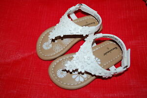 a3b74d56e655f9 Baby Toddler Girls Shoes WHITE FLOWER THONG SANDALS T-Strap V-Strap ...