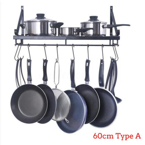 Kitchen Wall Mounted Pot Pan Rack Holder Cookware Storage Shelf Hanger 10 Hook