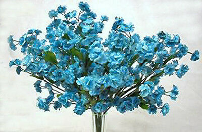 12 Baby's Breath ~ TURQUOISE TEAL ~ Gypsophila Silk Wedding Flowers Centerpieces