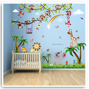 Image Is Loading Animal Owl Jungle Wall Stickers Monkey Zoo Lion