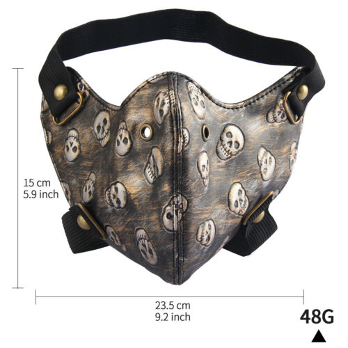 Unisex 3D Printed Skull Leather Mask Motorcycle Cycling Anti-Dust Masquerade