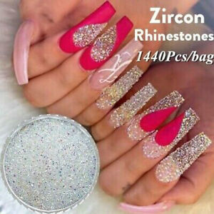 Details About Ab Color Nail Rhinestones Glitter Crystal Diamond 3d Nail Art Decoration Tips