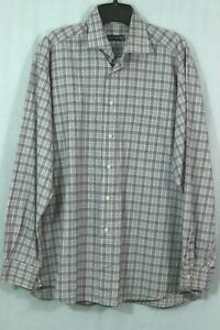 Men-039-s-St-Croix-Plaid-Cotton-Shirt-Red-Blue-Checks-Size-Large-Dress-Casual-Italy