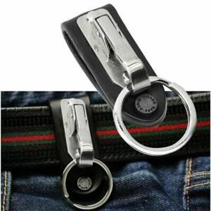 Quick-Release-Detachable-Stainless-Steel-Key-Chain-Belt-Clip-Ring-Holder-Keyring