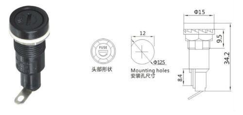 10 X PORTAFUSIBILE da pannello 250V 10A con tappo a vite per FUSIBILI 5x20mm