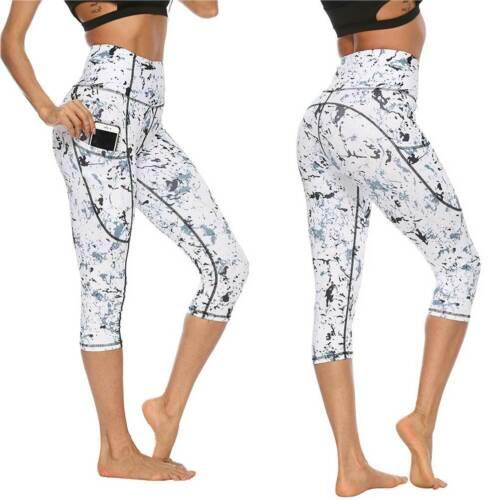 Women Capri Leggings High Waist YOGA Pants With Pocket Gym Sport Fitness Elastic