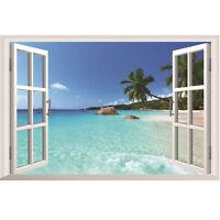 3D Window Beach Sea View Wall Sticker Removable Art Vinyl Decal Mural Room Decor