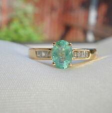 1.00ct Colombian Emerald & Baguette Diamond Engagement Ring