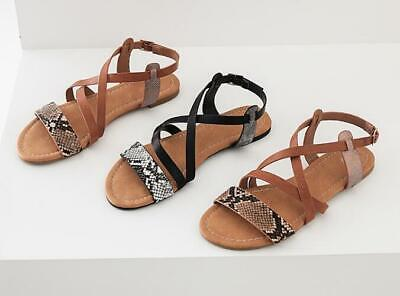 7b8adc652c213 Womens Slip On Snakeskin Cross Strappy Open Toe Flats Sandals Shoes ...