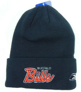 BUFFALO-BILLS-NFL-VTG-KNIT-REEBOK-NAVY-SCRIPT-WINTER-BEANIE-SKI-CAP-HAT-NEW