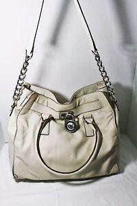 michael kors hamilton large tote bag vanilla leather handbag silver rh ebay com