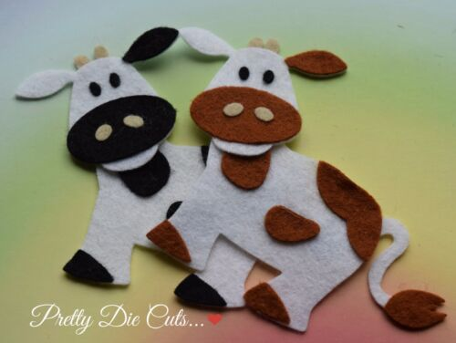 DIE CUT Farm Animal Craft Embellissement Feutre vaches Pack de 2