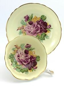 Vintage-Paragon-Double-Warrant-Pink-Cabbage-Roses-Tea-Cup-Saucer-Bone-China-K238