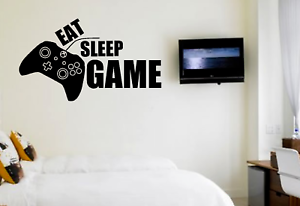 Eat Sleep Game Gaming Gamer Boys Girls Kids Bedroom Wall Decal Stickers for Room