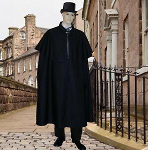 Mens-Victorian-or-Edwardian-black-double-cape-costume-fancy-dress