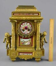 Stunning 19th Century French Gilt Mantle Clock W/ Sevres Style Plaques NR!!!