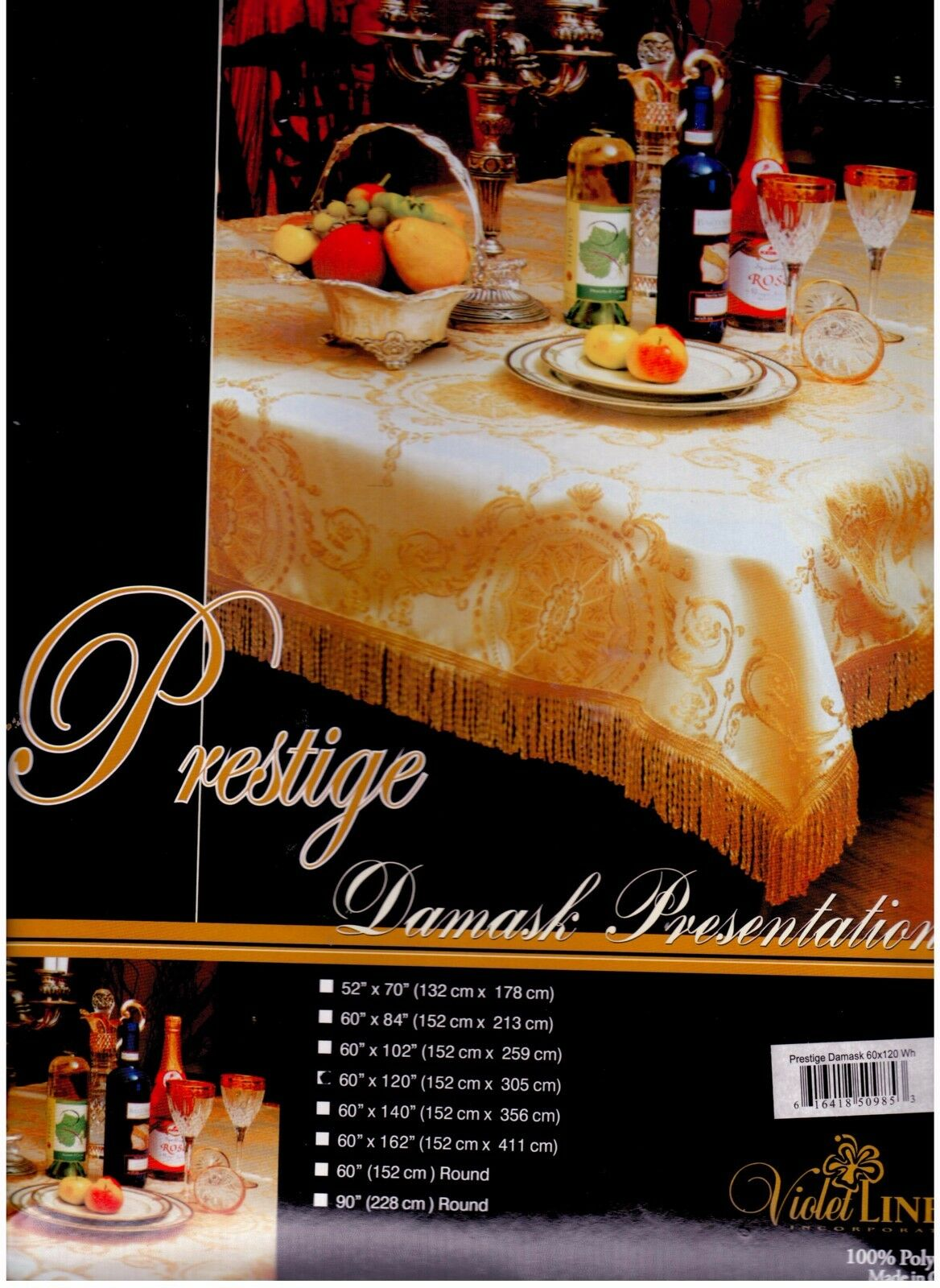 Prestige Damask  Tablecloth , Couleur  blanc