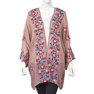 Tan-con-Multi-Color-Ricamo-Fiore-modello-Kimono-Caftani-Tuniche-Poliestere
