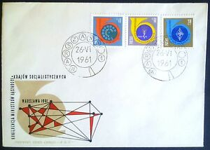 POLAND STAMPS FDC 4Fi1100-02 Sc991-3 Mi1100-02-Conference of Communications,1961 - Reda, Polska - POLAND STAMPS FDC 4Fi1100-02 Sc991-3 Mi1100-02-Conference of Communications,1961 - Reda, Polska