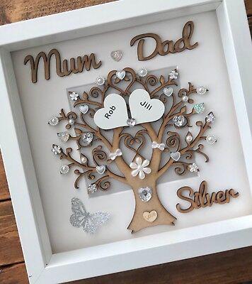 Handmade Personalised Silver 25th Wedding Anniversary Tree Gift Frame Mum Dad Ebay