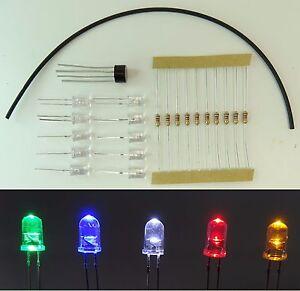 10x LED 5mm Klar Gleichrichter Widerstand 12V Schrumpfschlauch C2656