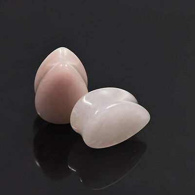 Ear Pear Shape Gauges Teardrop Organic Stone Double Flared Ear Tunnel Plugs 2pcs