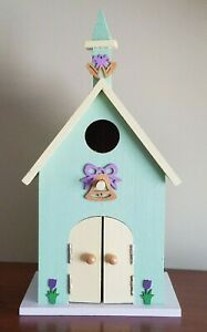 Hand Painted Wood Birdhouse Church Indoor or Outdoor Use Easter Spring Theme
