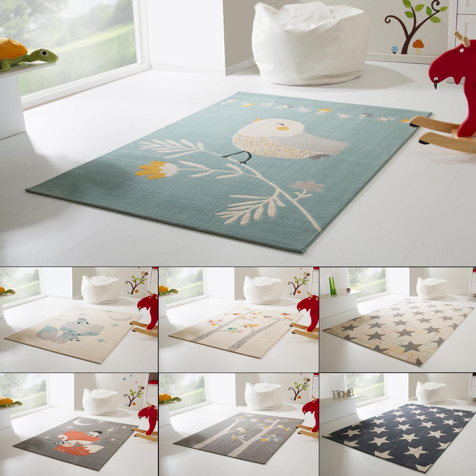 Kinderteppich Samui Spielteppich für Mädchen und Jungen Fuchs Vögel Spatz Sterne