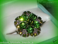AUGUST BIRTHSTONE PERIDOT GREEN CRYSTAL SILVER FLOWER RING ADJUSTABLE SIZE 7/8/9