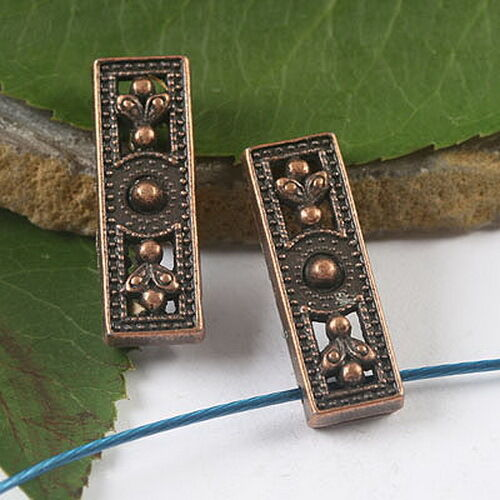 8pcs antiqued dark copper  rectangle shaped crafted flower cover design  h1803