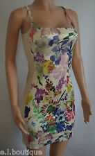 Miss Sixty nude floral pink fitted bodycon full back mini dress small 8 10 BNWT