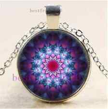 Mandala  Photo Cabochon Glass Tibet Silver Chain Pendant Necklace