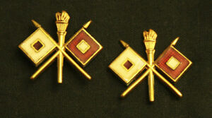 Pair of US Army Military Officers Signal Corps Collar Badges Insignia