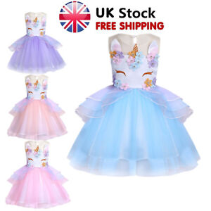 Girls Christening Bridesmaid Dresses Dress Petal Bow Mesh Tutu Chiffon Flower UK