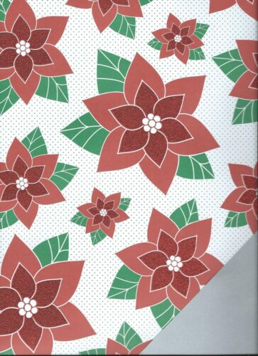 HOLLYDAYS Poinsetta Rose Lips 12 x 12 Glitter Doublesided Paper 2  Sheets