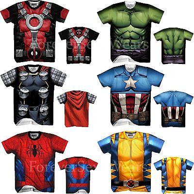 Men Marvel DC Comic Sublimated Costume Tee T-Shirts Spiderman Thor Deadpool Hulk
