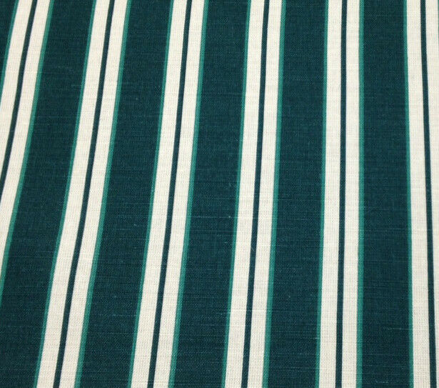 "WAVERLY BRANT POINT STRIPE EMERALD GREEN LINEN FURNITURE FABRIC BY THE YARD 56""W"