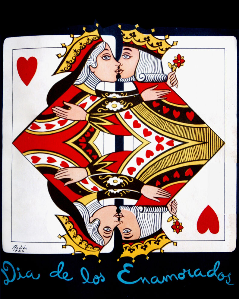 1599.Decoration Poster.King Queen card.Valentines Day Gamblers.Poker romantic