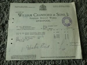 Vintage 1927 William Crawford Sons Receipt Biscuit Works - Kitchen Display Item?