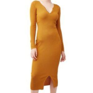 Womens-Derek-Heart-Yellow-Gold-Ribbed-Long-Sleeve-Sweater-Dress-PETITE-SMALL