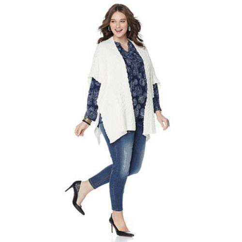 NWT Sizes XL MELISSA McCARTHY SEVEN 7 Puckered Knit Cardigan Sweater 1X,2X,3X