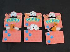 3 Puppy in my Pocket ponytail Hairbands. Vintage 1995 New Old Shop Stock
