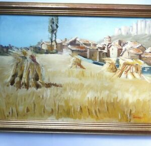 LES-MEULES-DE-FOINS-PAYSAGE-D-039-ESPAGNE-huile-sur-Toile-signee-circa-1950