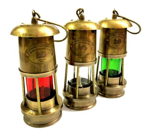 Set of 3 Brass Minor Oil Lamp Antique Nautical Ship Lantern Maritime Boat Light