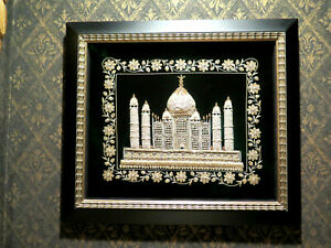 Architectural-Embroidery-Gold-Thread-on-Black-Velvet-Minarets-Mosque-Fine-Framed
